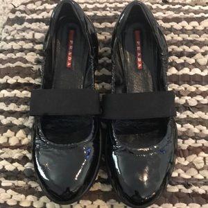 Prada black patent leather Mary Janes ballet flat
